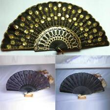 Vintage Chinese Style Embroidered Peacock Tail Folding Fan Hand Held Fan  W10