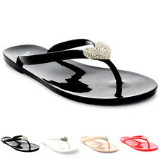 Womens Summer Flip Flops Vacation Diamante Heart Jelly Shoes Sandals US 5-11