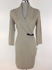 Calvin Klein NEW w Tag Cable Sweater Dress Khaki Gold Long Sleeve Shawl Collar