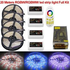 KIT 10M 20M 5050 RGBW RGBWW Mi 4-Zone Led Strip Light +Touch Remote +12V Power