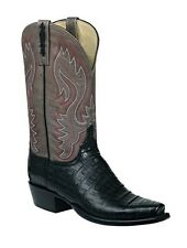 Lucchese HL1012 Mens Black Caiman Crocodile Leather Western Cowboy Boots