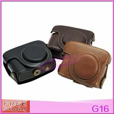 New color Leather Camera Case Cover Bag with Strap For Canon Powershot G15 G16