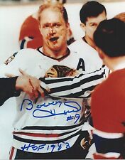 BOBBY HULL signed CHICAGO BLACKHAWKS 8x10 photo *HOF,THE GOLDEN JET* w/COA #2