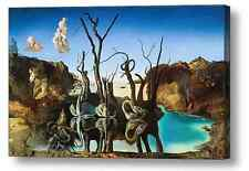 SALVADOR DALI SWANS REFLECTING ELEPHANTS REPRO CANVAS BOX PRINT A4, A3, A2, A1