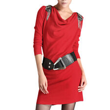 Lady Stretchy Cowl Neck Pullover Summer Long Sleeve Dress w Belt