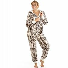 Camille Womens Ladies Supersoft Animal Print All In One Leopard Onesie Pyjama