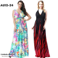 pld3 PLUS SIZE Boho Plunging Neck Chiffon Floral Maxi Long Dress Evening 12 - 24