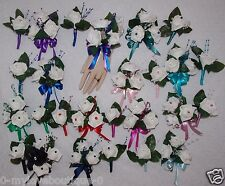 2PCS Corsage Boutonniere White Roses Many color Sets Or Special Orders Welcome