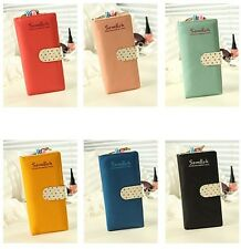 New 6 Colors Lady's Long Purse Clutch Wallet High Quality Zip Bag Card Holder PU