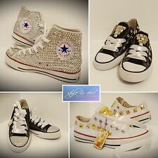 Costumized White CONVERSE DIAMOND Tip Toe ALL STAR Ribbon Lace CANVAS Trainers