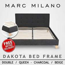 Queen Size Black/White Leather Pu Bed Base Ensemble Wooden Slat Bed Base Luxury