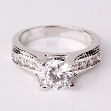 1ct Solitaire Simulated Diamond 18k White Gold Plated Engagement Ring FREE Box