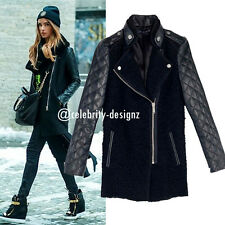 wc23 Celebrity Style Black Wool Quilted Faux Leather Sleeve Long Winter Coat