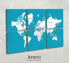 Modern World wall map canvas - Custom colours - 6 Panel Canvas - Ready to hang