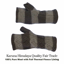 Mens Gloves. Fingerless Gloves. Hand Warmers 100% Pure WoolThermal Fleece Lined.