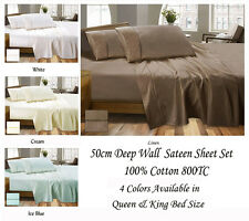 Luxury 800TC 100% Cotton Sateen Sheet Set  50cm Deep Wall Queen & King Size Bed