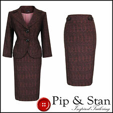 NEXT UK12 US8 BLACK PINK PENCIL SKIRT SUIT 50S VINTAGE STYLE WOMENS LADIES SIZE