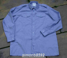 ROYAL AIR FORCE SURPLUS BLUE POLYCOTTON LONG SLEEVED SHIRT-GOODWOOD,W&P REVIVAL