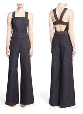 Olivia Palermo Blue Denim Wide Leg Retro 70s Jumpsuit Pant Suit Womens 2 or 4