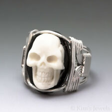 Carved Bone (bovine) Skull Cameo Sterling Silver Wire Wrapped Ring