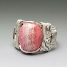 Rhodochrosite Sterling Silver Wire Wrapped Cabochon Ring
