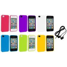 TPU Jelly Gloss Solid Skin Case Cover Accessory+Headphones for iPhone 4 4G 4S