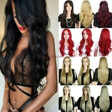 Synthetic Long Curly Straight Wavy Full Wig Costume Party Ombre Blonde Brown JY