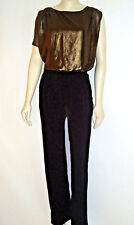 Lane Bryant Jumpsuit Long Black Pant Bronze Top size 14/16 and 18/20 NEW $99 TAG