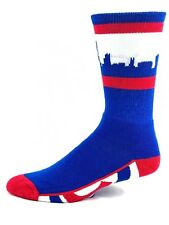 Chicago Cubs Baseball Adult White Blue Red Skyline Crew Socks