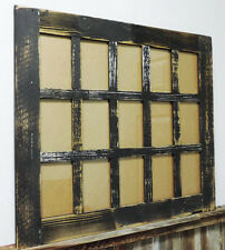 Rustic Barn Wood 15-Pane Picture Frame Collage Window for 15-4x6 Photos