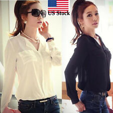 Womens Long Sleeve OL Career Chiffon Button Down vintage Shirt Top Blouse