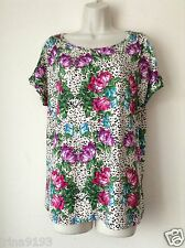 Next Women`s Ladies Split Sleeve Rose Top Green and Purple Size 8