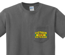 Pocket t-shirt men's Vietnam Veteran army usmc pocket tee mens dark gray shirt