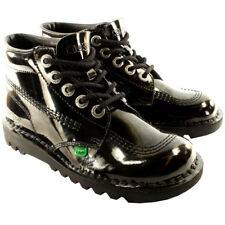 Unisex Kids Youth Kickers Kick Hi Black Patent Back To School Boots Shoes US 4-6