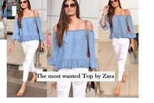NEW ZARA BLUE DENIM OFF SHOULDERS PEPLUM FRILL CAMBRAY TOP BLOUSE S M SOLD OUT