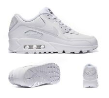Nike Air Max 90 GS White Leather JUNIOR Boys Girls Unisex Trainers UK Sizes 3-6