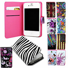 Pocket Leather Wallet Stand Flip Cover Case Protector For Apple iPhone 4 4S 4G