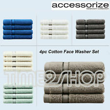 New Pure 4x or 8x 100% Cotton Face Washer Set Terry Cloth 33x33cm 6 Colours