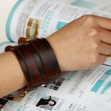 Punk Unisex Wide Genuine Leather Belt Bracelet Double-Band Wristband Cuff GBP