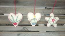 GISELA GRAHAM EMBROIDED HEART STAR FLORAL HANGING XMAS CHRISTMAS TREE DECORATION