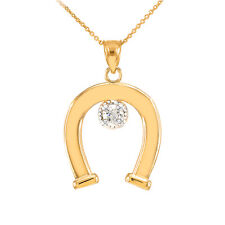 14k Yellow Gold CZ-Studded Lucky Horseshoe Pendant Necklace