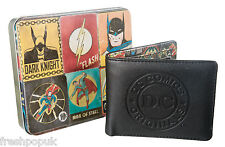 New Official*DC Comics Vintage Character Print* Bi Fold Wallet in a Gift Tin Box