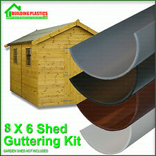 GARDEN SHED MINI GUTTERING KIT FOR 8X6 SHED WITH APEX ROOF - 4 COLOURS AVAILABLE