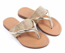 Gold Summer Flip Flops Kids Girls Sandals Flat Youth Casual Shoes Size 9 - 4