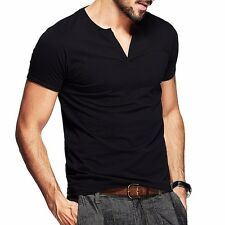 Fitted Mens Casual T-shirt Slim Short Sleeve V Neck Cotton Basic Tee M L XL XXL