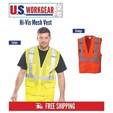 Hi Vis Vest Mesh Safety Work High Visibility ANSI Class 2, M-5XL, Portwest US370