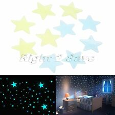 100Pcs 3D Glow In The Dark Wall Stickers Luminous Decals Nursery Bedroom Decor