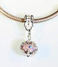 Crystal Hanging Ball European Charm with or without Bracelet