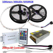 KIT 5M 10M SMD 5050 RGB LED Strip Light 12V Tape + RF Remote Controller + Power