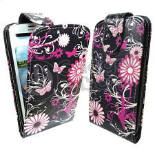 BUTTERFLY PINK FLOWER FLIP LEATHER CASE COVER FOR SAMSUNG GALAXY S3 IN NAVY BLUE